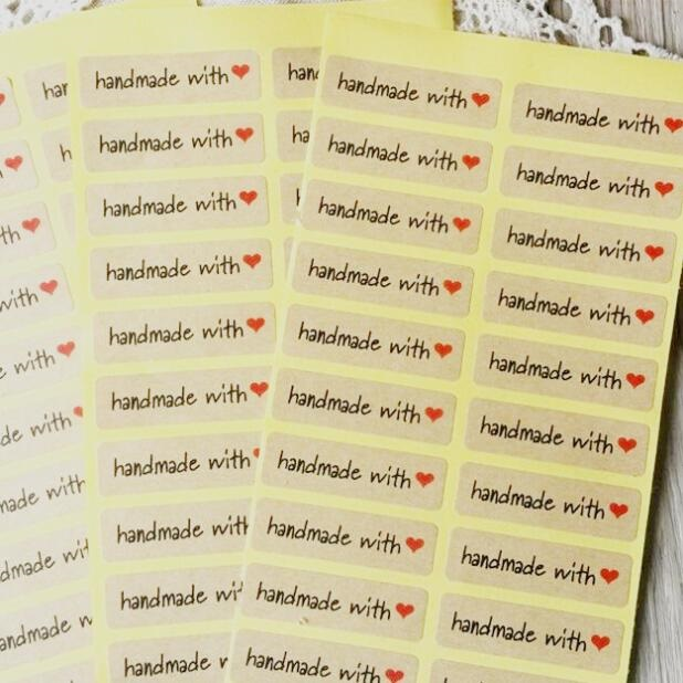 100PCS/lot Hand made with heartkraft paper seal stickers for handmade products diy bakery packsge label Adhesive Sticker matte white a4 kraft paper self adhesive square print label stickers library book shipping labels for laser inkjet printer