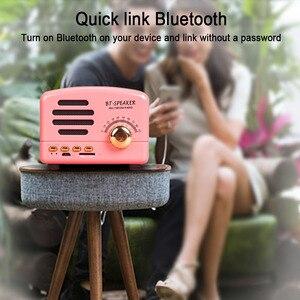 Image 5 - Retro alto falante sem fio bluetooth mini alto falante portátil alto falante baixo pesado ajustável suporte tf cartão fm rádio leitor de música