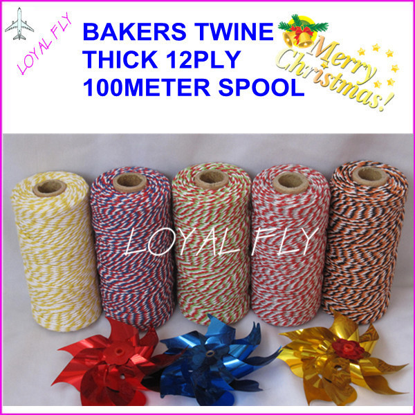 150pcs/lot cotton bakers twine 12ply thick 1.5MM, 100m/spool, twisted twine, used in gift,greeting card 25 kinds color