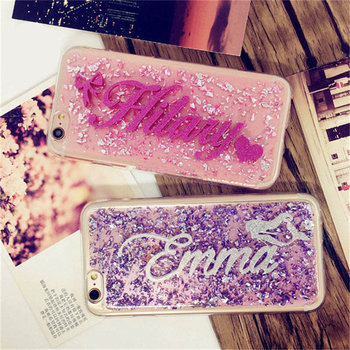 For Samsung S7 edge S8 S9 Plus Note 8 9 Luxury Exclusive Custom name letters Phone Case Soft Silicone Glitter foil Back Cover
