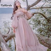 Tafforda 2017 Autumn New Literary Vintage Slash Collar Long Sleeved Strapless Female Dress Large Swing Vacation Fairy Dress