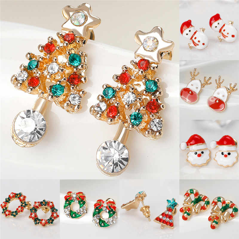 Fashion Women Santa Claus Snowman lovely Tree Bell Christmas Jewelry Christmas Earring For Women Gifts