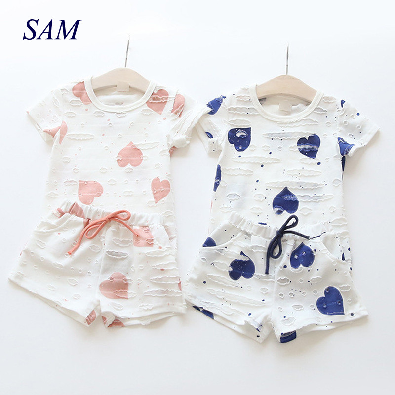 Baby Girls Clothes Sets 2018 Summer Heart Printed Girl Short Sleeve Tops Shirts + Shorts Casual Kids Children's Clothing Suit letter print o neck collar short sleeve t shirts rose white shorts girl sets 2017 summer small kids new fashion for girls sets