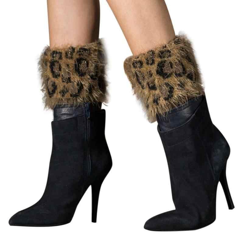 Kadınlar kış sıcak örgü bacak isıtıcıları tığ Slouch çizme çorap yeni sıcak çorap leopar tüy iplik üzerinde ağız bacak isıtıcıları