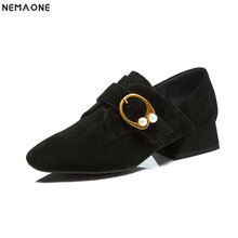 NEMAONE spring autumn new style women's pumps genuine leather low heels shoes fashion comfortable lazy shoes women size 34-43