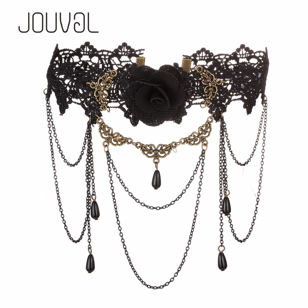2018 Sexy Collar Gothic Chokers Black Lace Neck Choker Necklace Vintage Victorian Women Chocker Steampunk Jewelry 3.28 SALE