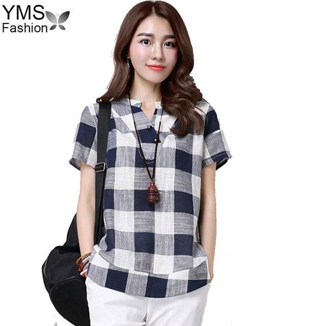 70954dcc07c3a YIMOSI Women Summer Blouses 2017 Casual Cotton Linen Short Sleeve Plaid  Shirt Lady Tops Female Vintage Blusas Plus Size M-4XL