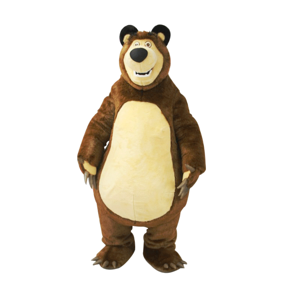 High Quality Bear Ursa Grizzly Mascot Costume Cartoon Character Free Shipping 1pcs high quality peach pear orange tomato character eva with plush mascot costume in box via ems 4 kinds for select