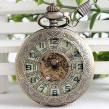 Steampunk Men And Women Clock Transparent Mechanical Bronze See Though Face Retro Ver Vintage Pendant Pocket Watch Gift TJX083