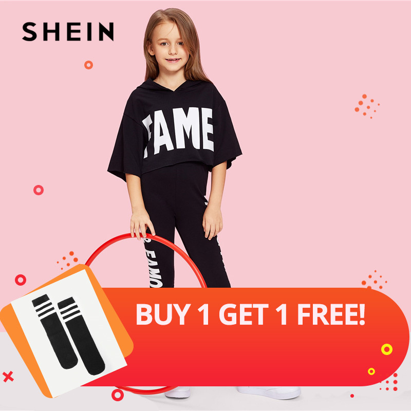 SHEIN Black Letter Print Hooded Top And Pants Set Girls Clothes 2019 Spring Fashion Active Wear Half Sleeve Kids Clothing tracksuit girls sports suits autumn clothes long sleeve sweatshirt pants sets for girl black white clothing 9 10 12 14y