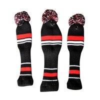 One Set Black Red White Wool Knit Golf Clubs Set Driver 3 5 Fairway Wood Head