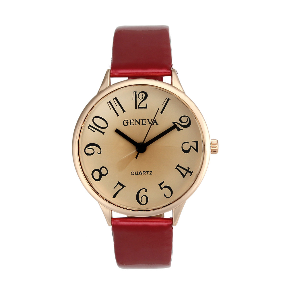 Fashion Elegant Women Geneva Faux Leather Analog Quartz Wrist Watch цена