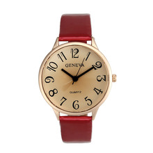 Fashion Elegant Women Geneva Faux Leather Analog Quartz Wrist Watch
