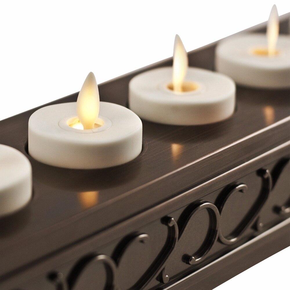 Ksperway LED Rechargeable sans flamme thé bougies ABS plastique avec minuterie/télécommande/support de chargeur ivoire lot de 6 - 3