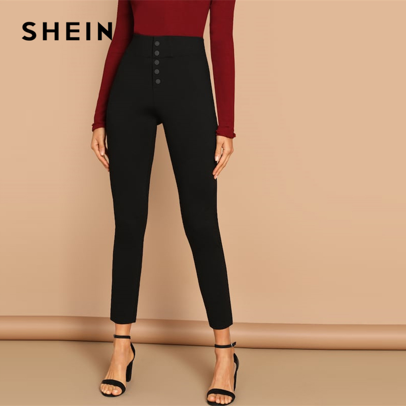 SHEIN Black Buttoned Fly Skinny Plain Pants Highstreet Solid Slim Crop 2019 Women Casual Streetwear Winter Leggings