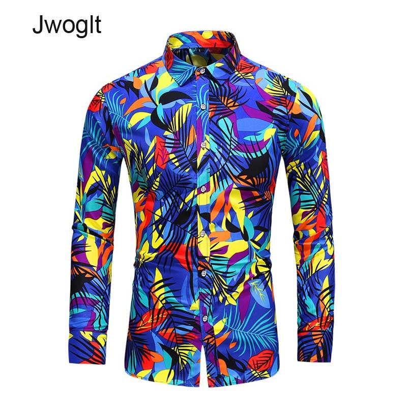 45KG-120KG Men Blouse Fashion Design Colorfully Printed Shirt Men Hawaii  Long Sleeved Beach Floral Shirts 5XL 6XL 7XL