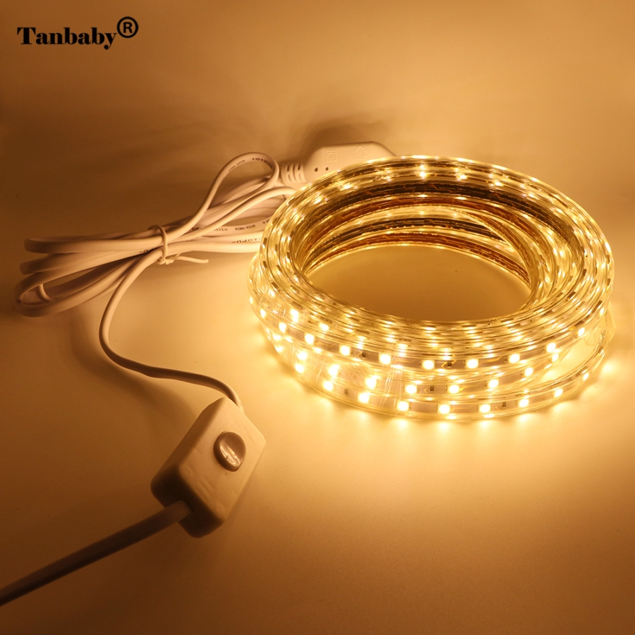 Tanbaby AC220V 5050 LED Strip Light 60leds/m SMD5050 IP67 Waterproof flexible led tape with switcher&EU plug for Outdoors