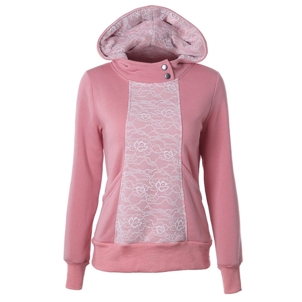 Women Hoodies Sweatshirts New Hot Sale Lace Hoodies Long Sleeved Thick Casual All-match Solid Leisure Hooded Hoodie Loose Tops