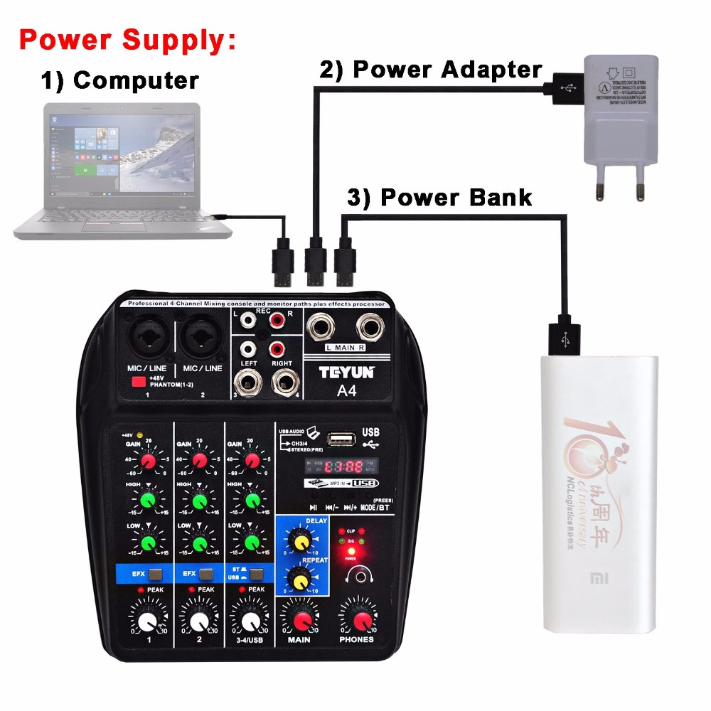 Mélangeur Audio multifonction A4 avec enregistrement Bluetooth entrée 4 canaux micro ligne Insert stéréo USB lecture carte son - 2
