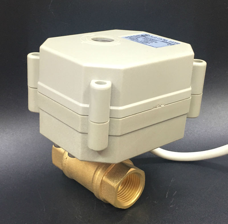 TF8-B2-C, 2 Way Brass 1/4'' (DN8) Electric Motorized Valve DC5V 3/7 Wires Metal Gear On/Off 5 Sec For Water Application