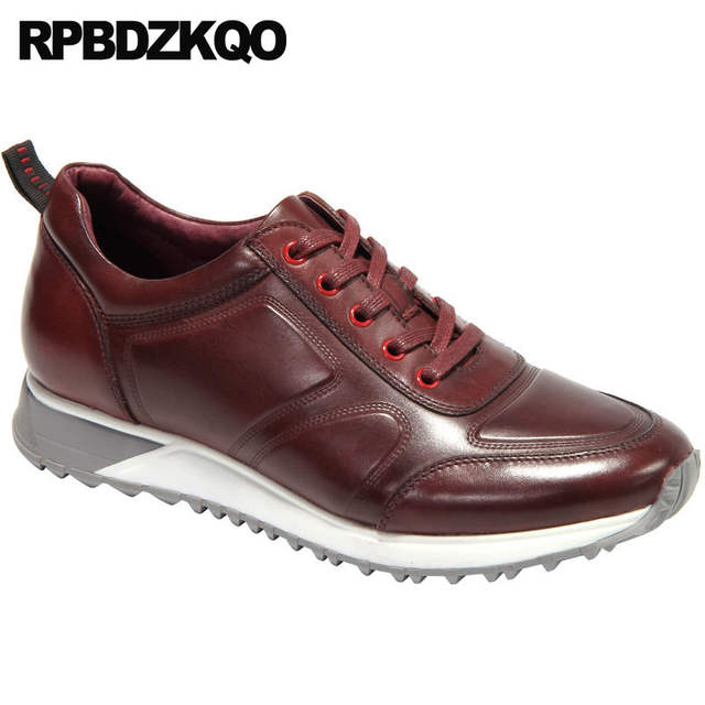 070895ee0ecae5 Detail Feedback Questions about genuine leather solid casual european  trainers sneakers luxury men shoes italy brand comfort burgundy high quality  runway ...