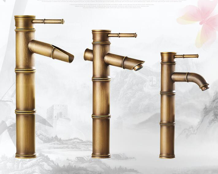 18 Type Antique Bathroom Sink Basin Faucet Retro, Bamboo Style Single Hole Basin Faucet Vintage, Brass Basin Faucet Hot And Cold