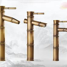 18 tipo antiguo lavabo retro, estilo bambú grifo de lavabo de un solo agujero vintage, Grifo de lavabo de latón caliente y frío