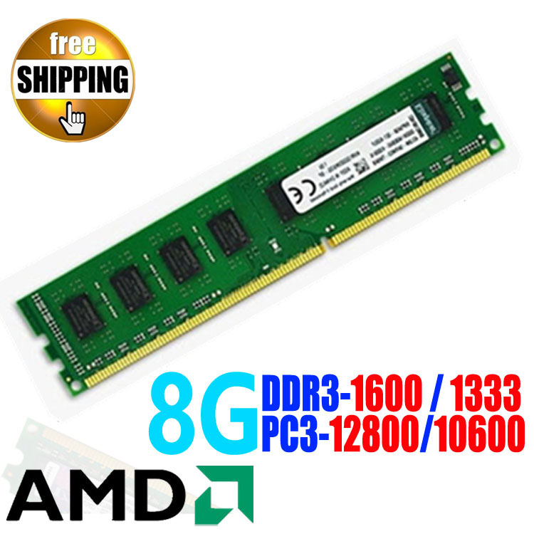 Brand New DDR3 1600 / PC3-12800 1600MHz 8GB For Desktop PC DIMM Memory RAM / compatible with DDR 3 1333 MHz PC3 10600 / for AMD