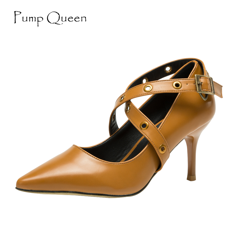 High Heels Women Pumps 2018 Spring Shoes Woman Thin Black Heels Fashion  Cross-T Pointed Toe Buckle Strap Size 36-40 Yellow gzx101206 fashion woman thin high heels pu pump lady plus big size sexy pointed toe shoes woman wedding shoes t strap 10cm 12cm