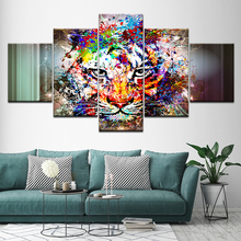 Canvas Painting watercolor colorful Tiger 5 Pieces Wall Art Modular Wallpapers Poster Print for living room Home Decor