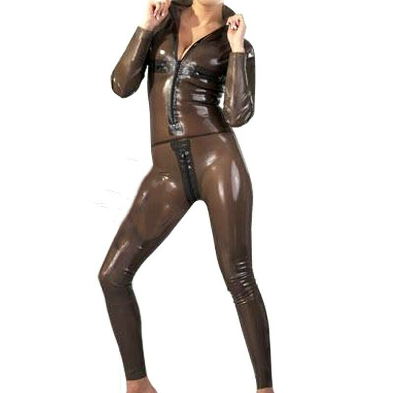 Latexanzug Zentai costume costume Latex collants Gummi fumée gris entrejambe fermeture éclair 0.4mm S-XXL