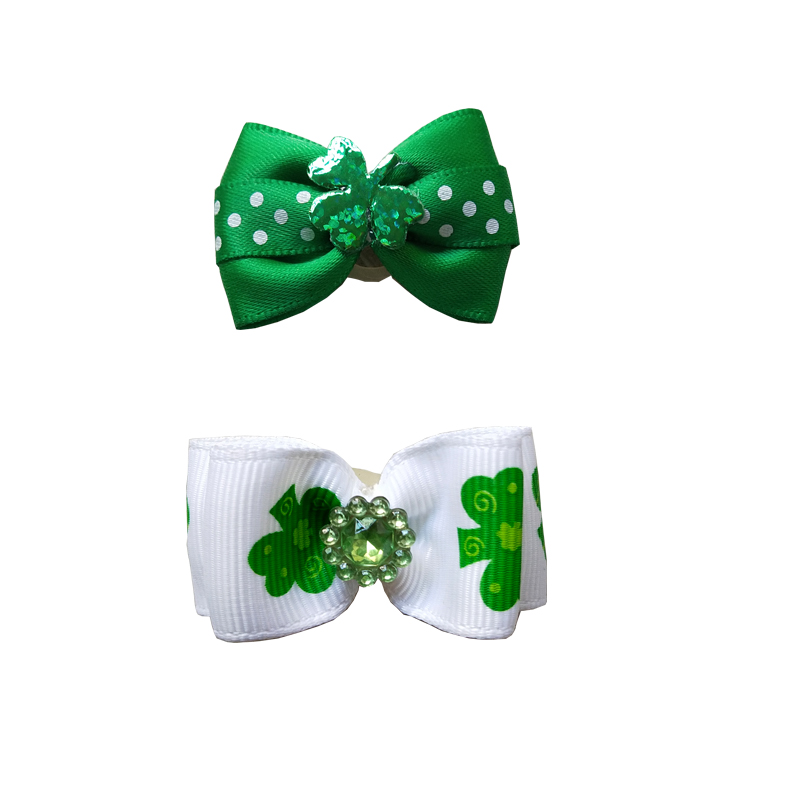 st Patrick s day Style font b Pet b font Dog Hair Bows White Green Cat