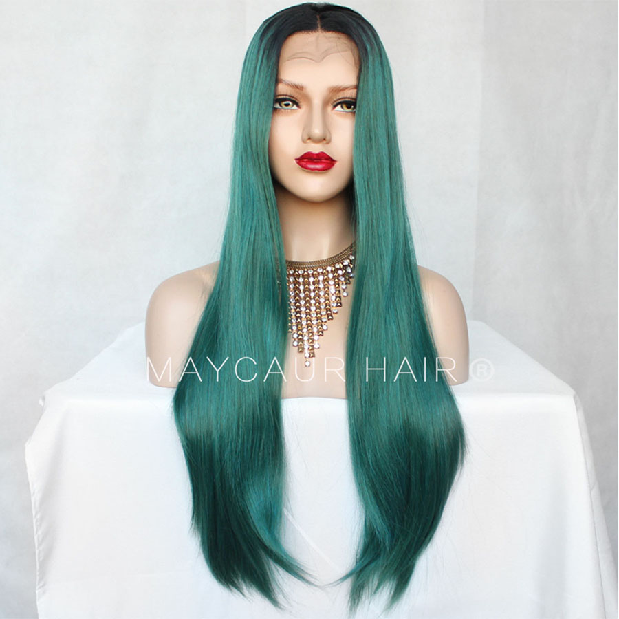 Black Green Ombre Color Long Straight Lace Wig Smooth Wigs With Natural Hairline Synthetic Lace Front Wigs For Black Women