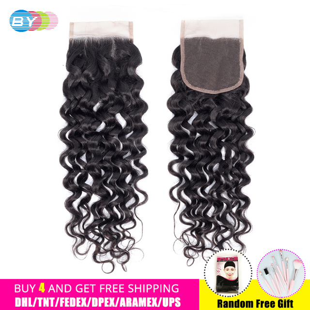 BY Water Wave Lace Closure 8-22inch Remy Human Hair Weaves 4*4 Free/Middle/Three Part HD Swiss Lace Closure Free Shipping