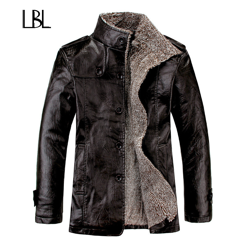 Vintage PU Leather Jackets Mens Winter Warm Thicken Faux Fur Fleece Liner Men Jacket Windproof Stand Collar Slim Fit Male Coat