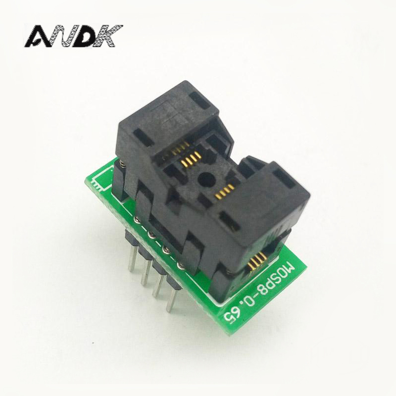 MSOP8 To DIP8 MCU Programmer Test Socket Pitch 0.65mm IC Body Width 3mm Programming Socket Adapter parts ssop24 ic test socket tssop24 fp 24 0 65 01a enplas programmer adapter with 24 pins 5 6mm body width 0 65mm pitch