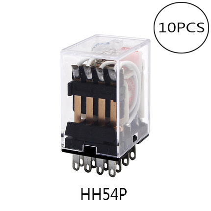 10PCS MY4NJ HH54P MY4N-J 14 Pin DC12V/DC24V/AC220V Coil General Purpose DPDT Micro Mini Relay Intermediate Electromagnetic Relay 10pcs pyf14a 14 pin terminal relay socket base black for my4nj base hh54p power relay