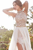 Romantic Julie Vino Lace Beaded Chiffon High Low White Lace Prom Dress Long 2019 Party Dress Side Slit Fall Evening Party Gown