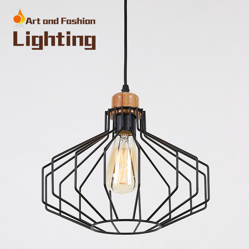 Nordic simplicity light American creative lights for restaurant cafe bar Personality single-head iron wood pendant lampCY-DD-235 classical chinese food industry restaurant bar cafe original wood single head pendant lights rmy 0247
