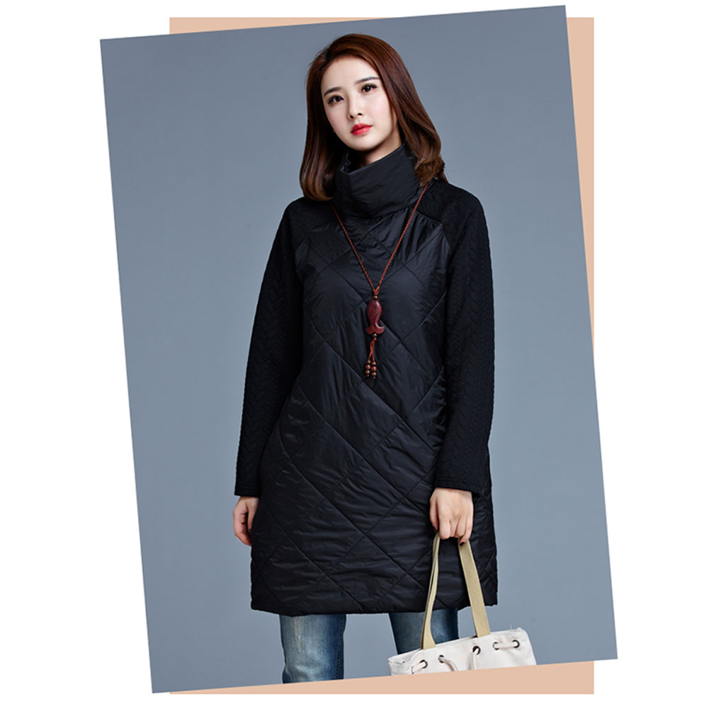 Women Patchwork Long Jackets Fashion   Parkas   Cotton Autumn Winter Casual Loose Dress Coats Black Gray Plus Size M-4XL Ladies