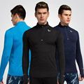 Soild Color Stand Collar Half-zipper Tshirt Homme Outdoors Long Sleeve T Shirt Men Fitness Quick Dry Camisas Leisure T-shirt