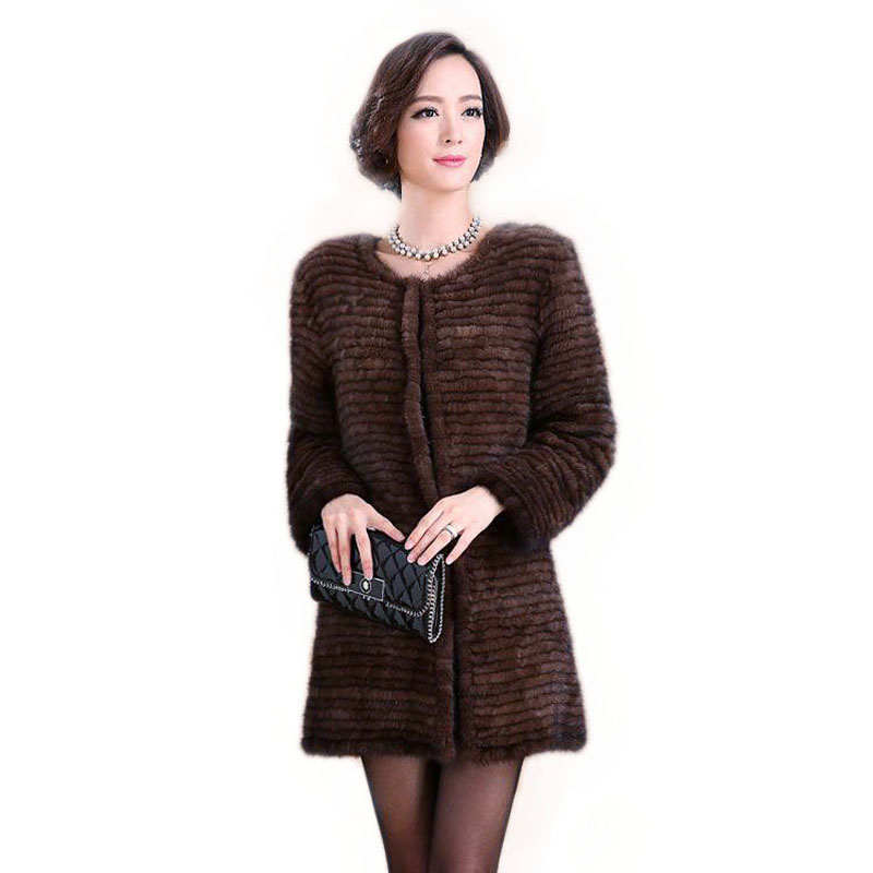 Popular women knitted mink fur coat jacket authentic style stripes fashion fur coat