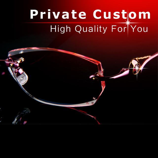 Lentes de óculos ópticos senhora Diamante de corte de luxo alta limpar óculos sem aro mulheres óculos de marca Anti fadiga UV Reflexão 729