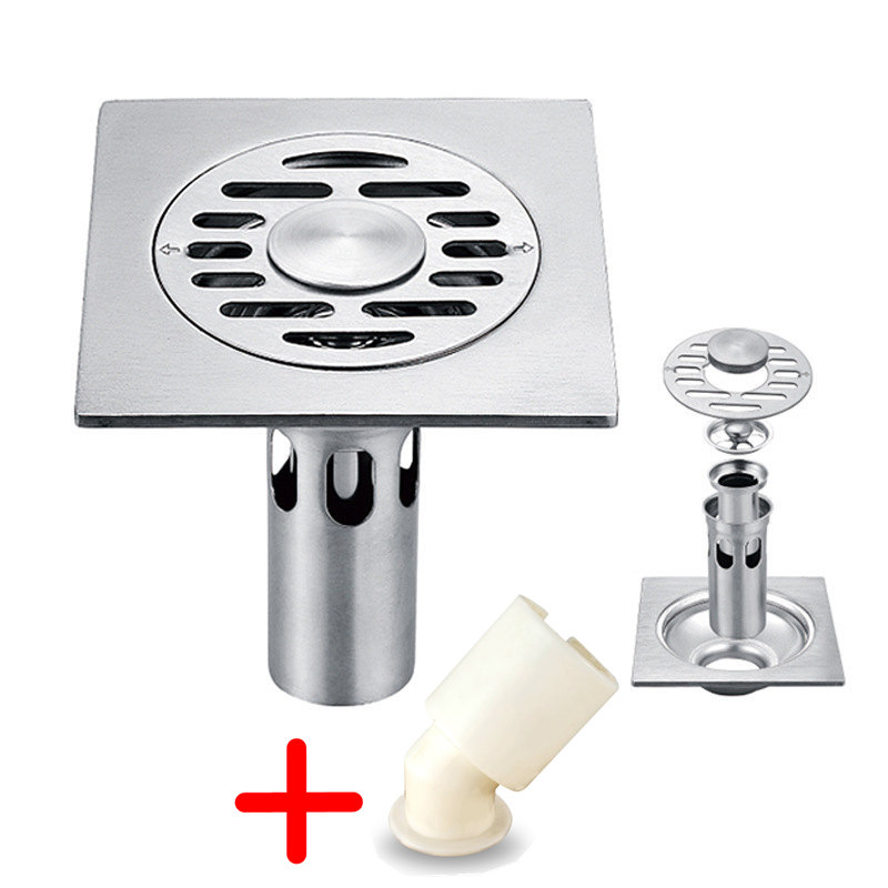 Temkunes Floor Drainer And Joint For Washing Machine Stainless Steel ABS 10cm Square Shower Floor Drains Strainer Bathroom Deodo
