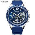 Спортивные часы MEGIR для мужчин  водонепроницаемые золотые мужские часы  Топ бренд  роскошные силиконовые часы  кварцевые часы с секундомеро...