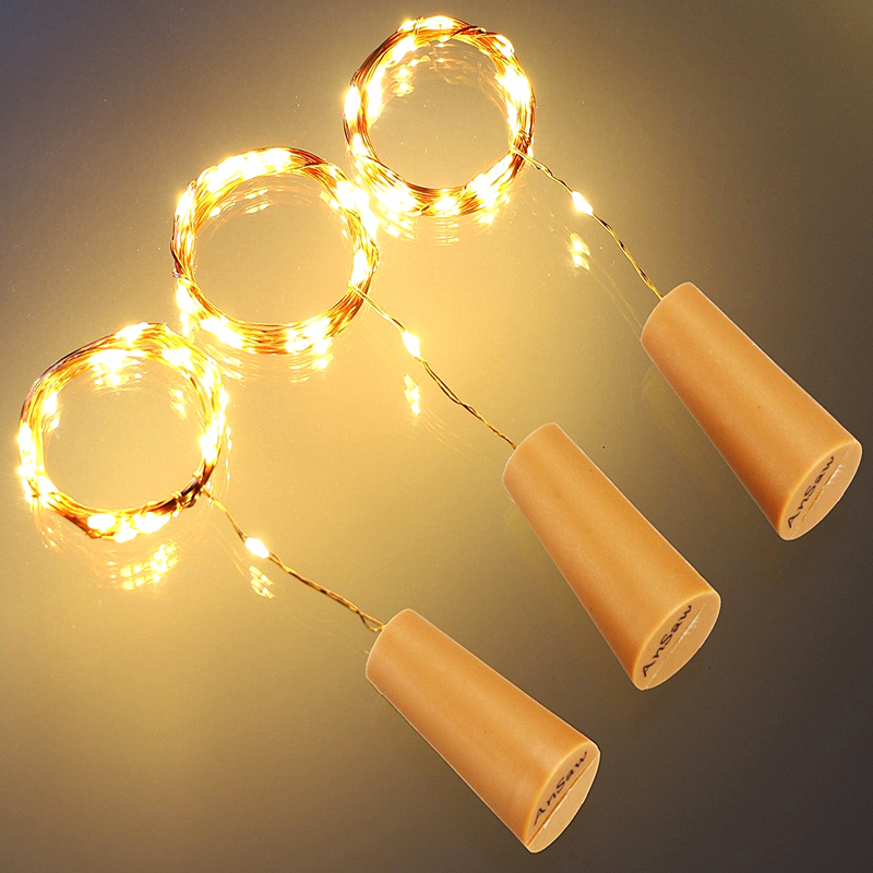 10Pcs/Lot 9Colors 2M 20LEDs Sliver Wire Waterproof Bottle Stopper LED String light Glass Wine Lamp Cork For Wedding Holiday Xmas