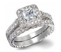 White Gold Color Top Quality Cubic Zirconia Stone Two Band Wedding Ring For Women and Men