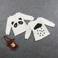 Panda Cloud T Shirt Do Bebê Da Menina do Menino Tops de Manga Longa de Malha Camisa Camisola Moleton Infantil Desgaste
