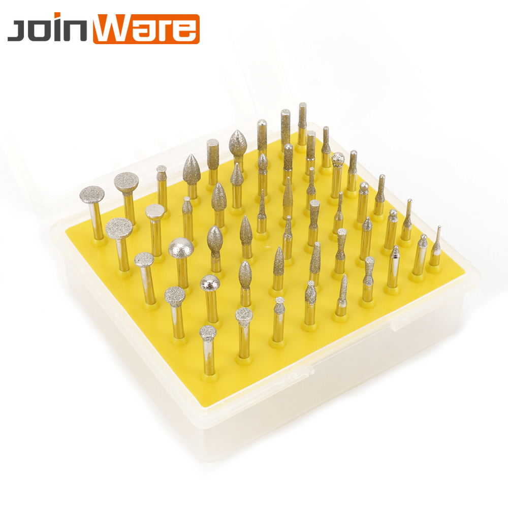 50Pcs Diamond Grinding Head Mounted Point Diamond Burrs Bit For Metalworking Stone Ceramic Glass Carbide Carving Tool 120#