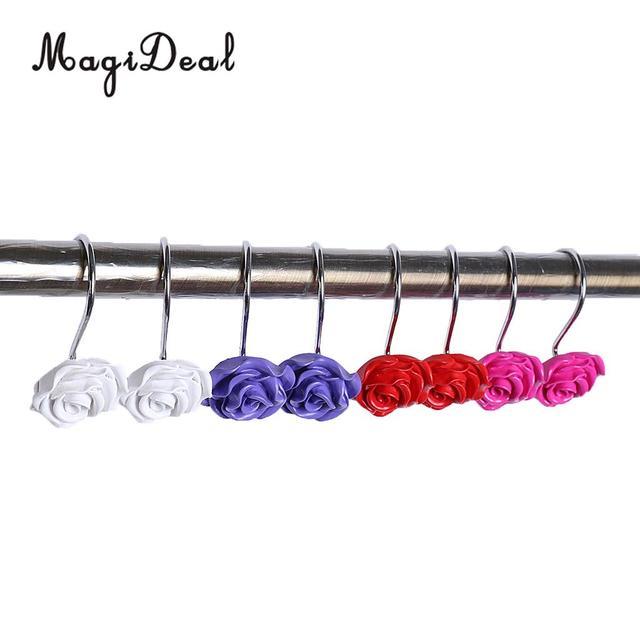 Creative Rose Flower Resin Shower Curtain Rings Hooks Set of 12 ...